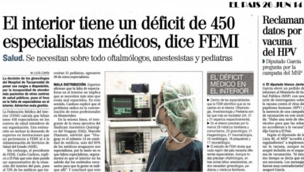 Presidente de FEMI Uruguay declaró al diario El País que faltan 450 especialistas en el interior