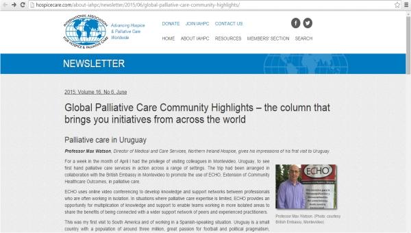 La Unidad de Cuidados Paliativos de la AMSJ es referenciada y destacada a nivel mundial