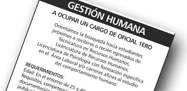 SE LLAMA A ASPIRANTES A OCUPAR UN CARGO DE OFICIAL PRIMERO PARA EL ÁREA DE  GESTIÓN HUMANA